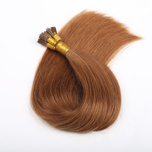 Peruvian Straight Virgin Hair Brown Color Stick I Tip Hair Extensions