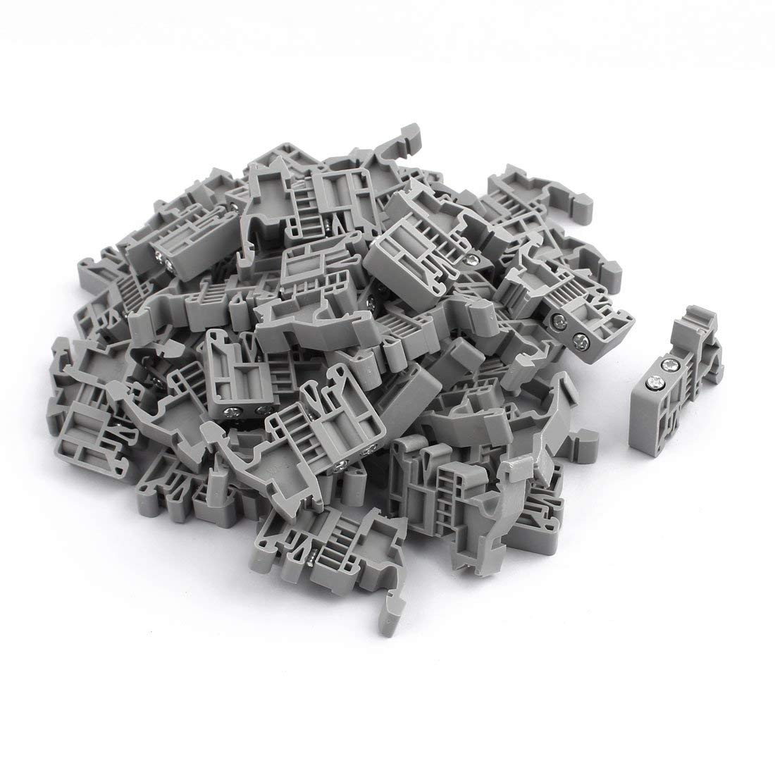Aexit 50 Pcs E/UK 35mm Din DIN Rail End Screw Clamp Terminal Fixed Block Gray