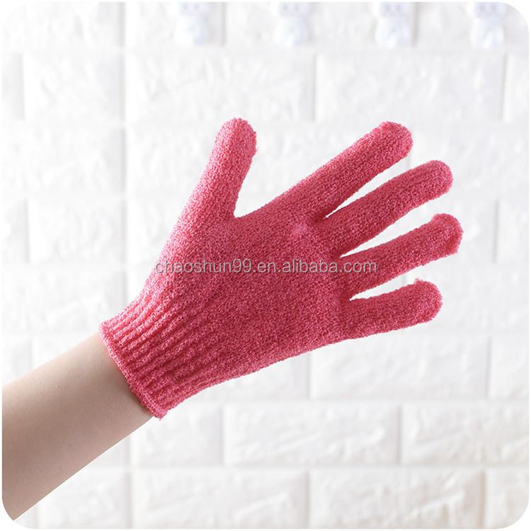 Mix color Nylon scrub glove bath massage glove with exfoliating gloves wholesale