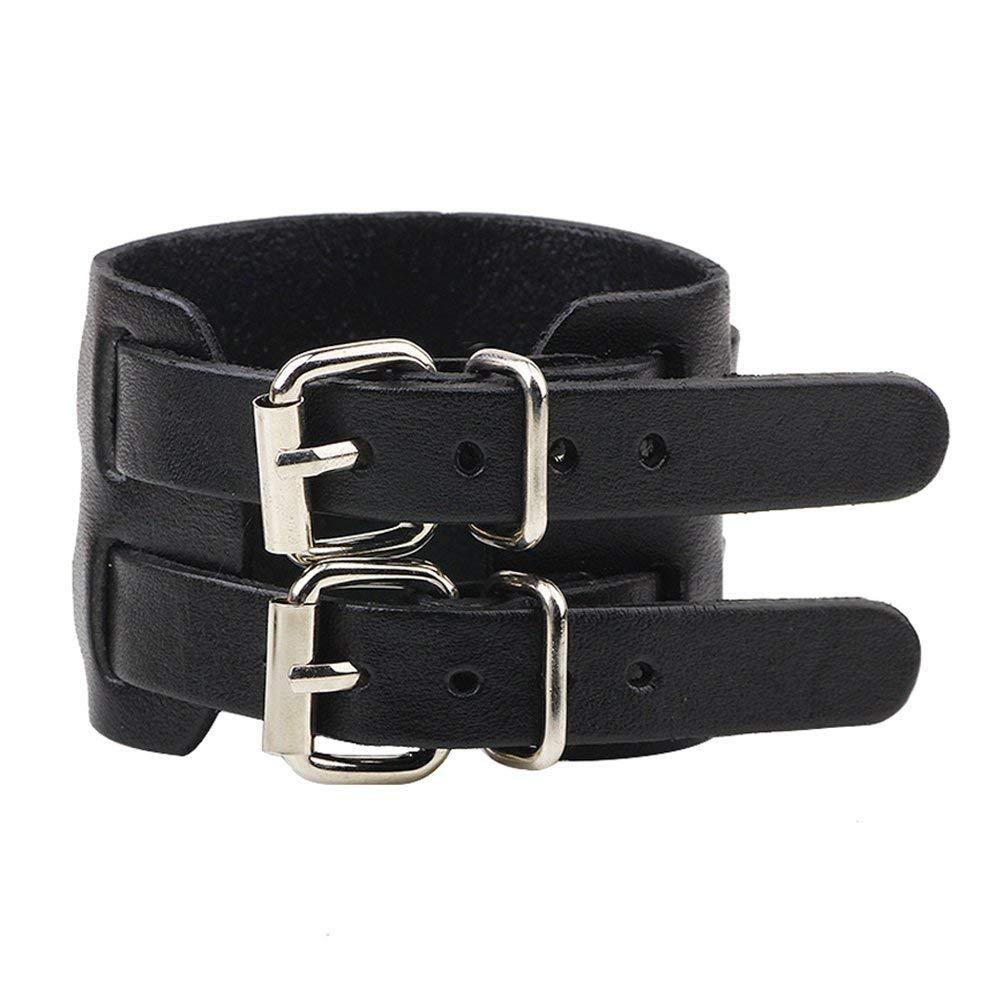 5ef9efd8fe90 Get Quotations · Leather Bracelet for Men Women Punk Rock Double Belt Buckle  Wide Cuff Bracelet Adjustable