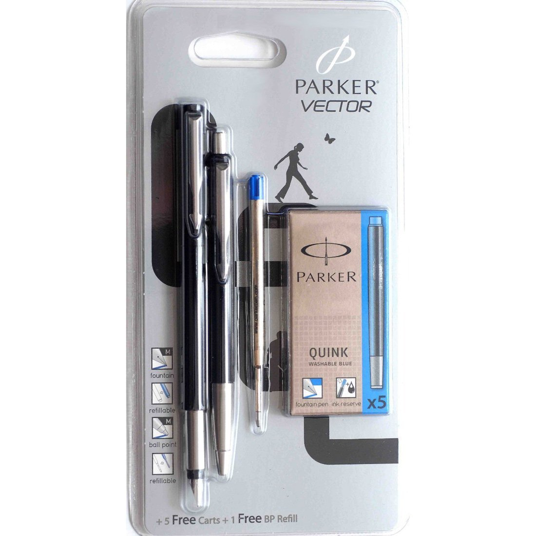 Parker Vector Black Fountain Pen & Ballpoint Pen Set + 5 Free Cartridges & 1 Free Ballpoint Refill