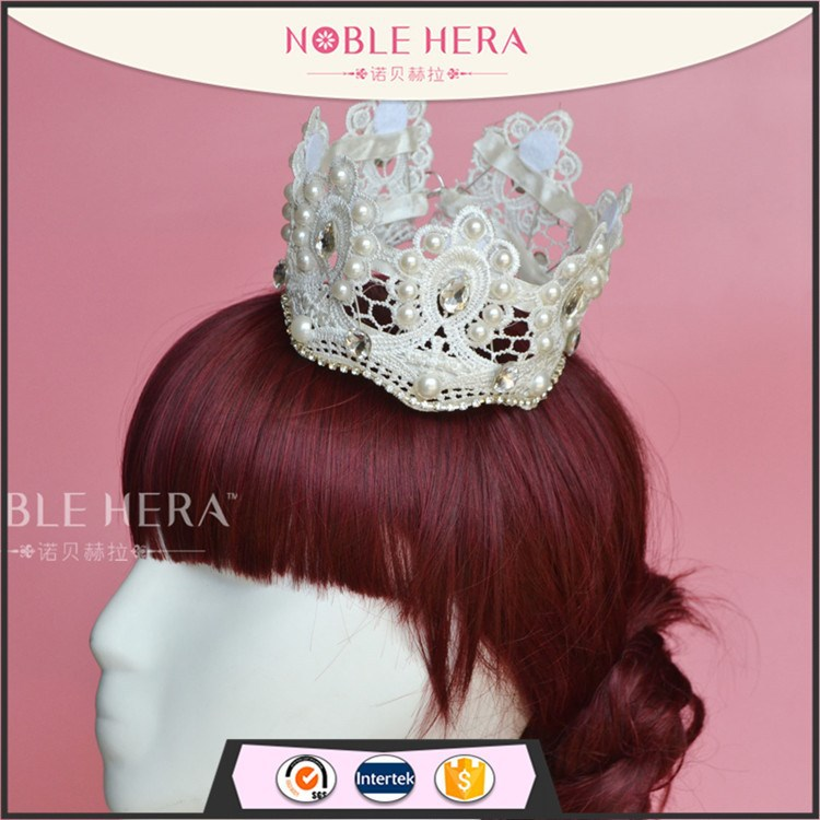 Lace/rhinestone bridal flower tiara crown wedding hair accessories