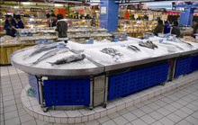 APEX custom make commercial supermarket restaurant stainless steel frozen types shell seafood display table