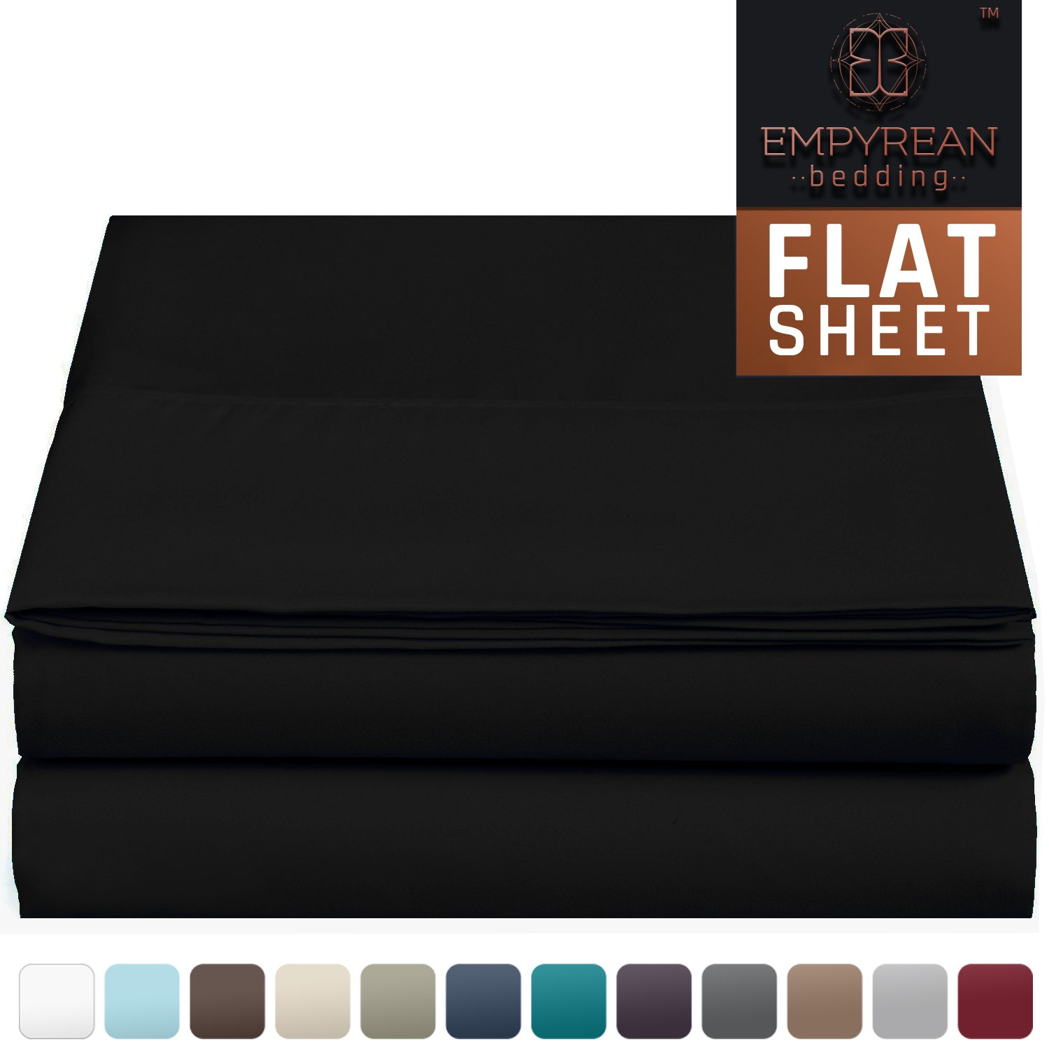 "Premium Flat Sheet – ""110 GSM"" Double Brushed Microfiber Extra Thick and Comfortable Highest Quality Flat Sheets, Luxurious & Soft Hotel Single Top Bed Sheet Hypoallergenic, Full, Black"