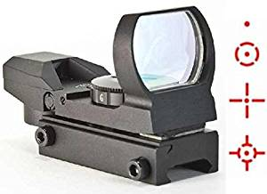 The Global Sportsman Tactical Rifle Shotgun Pistol 4 Reticle Red Dot Open Reflex Sight Scope Fits Any Picatinny / Weaver Base Mount with 7 Brightness Settings (CQB)