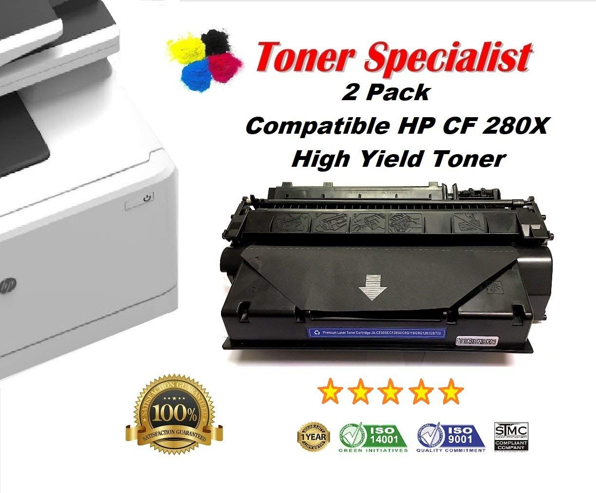 2 Pack Toner Specialist New Compatible HP 80X (CF280X) Black High Yield Toner Cartridge for use in HP LaserJet Pro 400 M401dne, HP Pro 400 M401n, HP Pro 400 M401dw, HP Pro 400 MFP M425dn printer