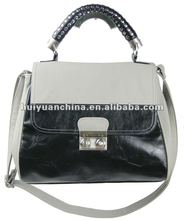 big studded handle satchel bag with cute lock on front