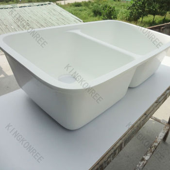 Solid surface double sink kitchen sink double acrylic for Solid surface kitchen sink