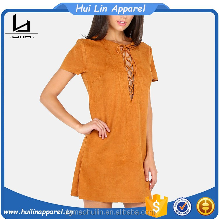 global products short sleeve lace up neck mini suede dresses