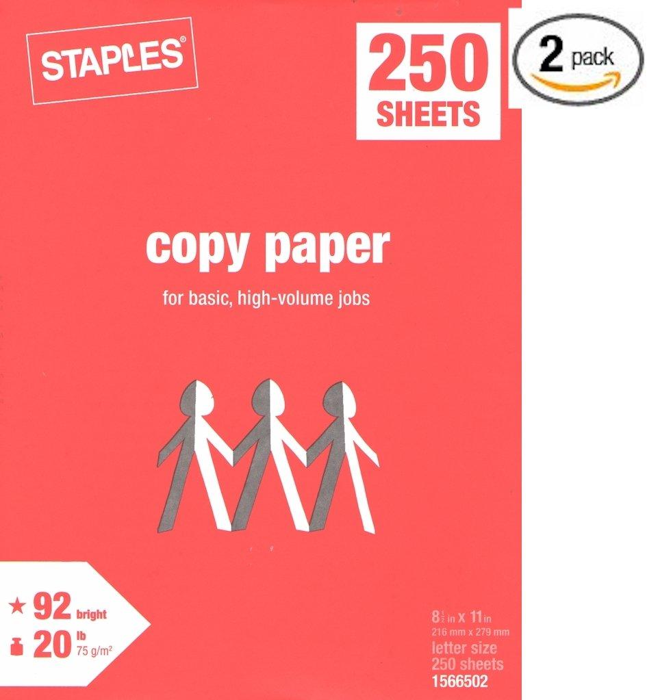 Staples Copy Paper, Multipurpose Laser Inkjet, 8 1/2 x 11 inch Letter Size, 20 lb. Density, 92 White, Acid-Free, Convenient Half-Ream Size, 2 Packs, 500 Total Sheets (1566502-2 Half-Reams Multipack)