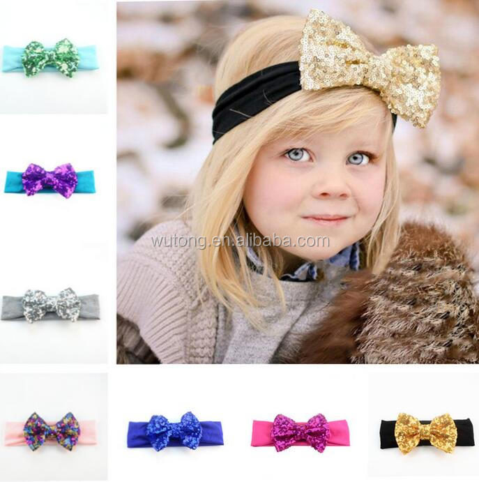 "Chic European Kids Girl 4.5"" Big Sequin Hair Bow headband Wholesale Elastic Headwrap For Kids 2017 New Hair Accessories"