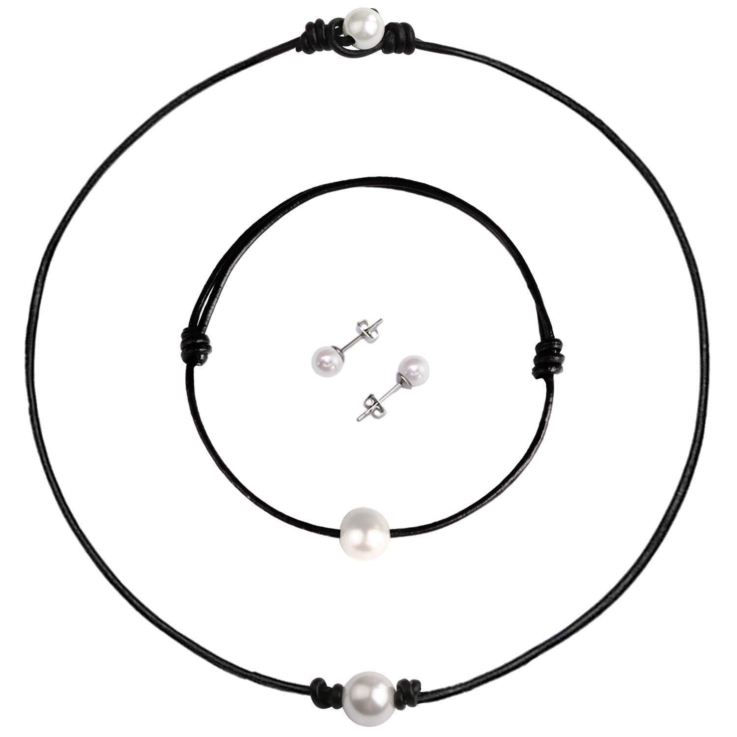 Blinkingstare Pearl Leather Choker Necklace Set – Dainty Handmade Genuine Leather Necklace, Bracelet and Earrings Set for Young Women