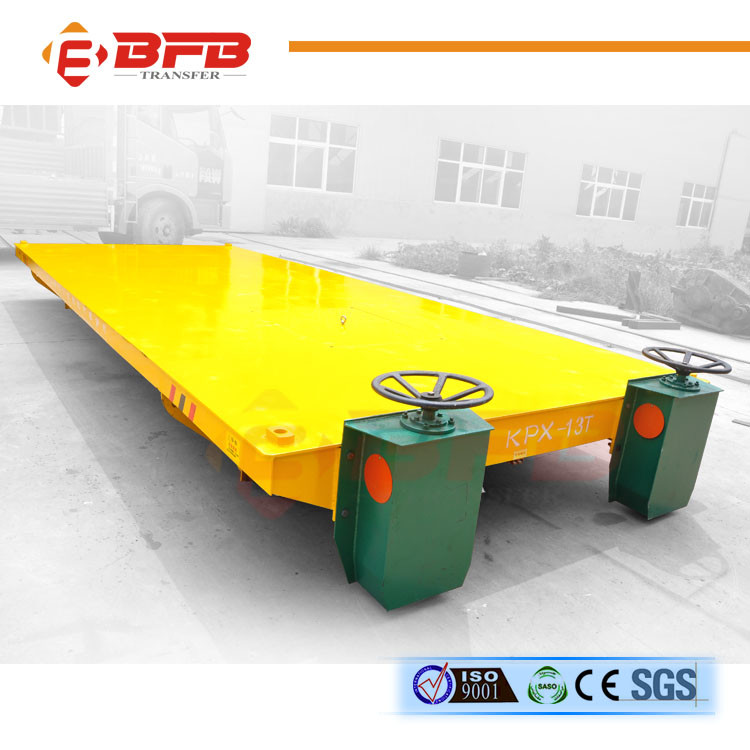 Rail material transfer flat table with operation platform on cart