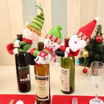 Christmas Santa Claus Snowman Spirit Bottle Decoration Wine Bottle Unique Decorate Beer Bottles For Christmas