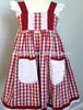 Wholesale garment grid pattern women dress girls gingham dress with lace suspender pocket