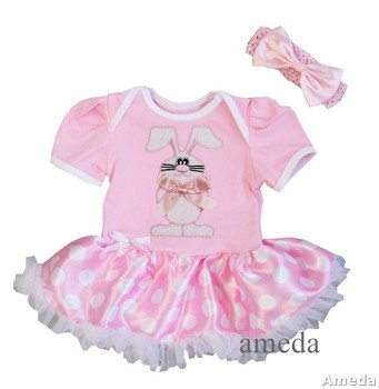 Baby Easter White Bunny Pink White Polka Dots Bodysuit Pettiskirt and Headband NB-18M