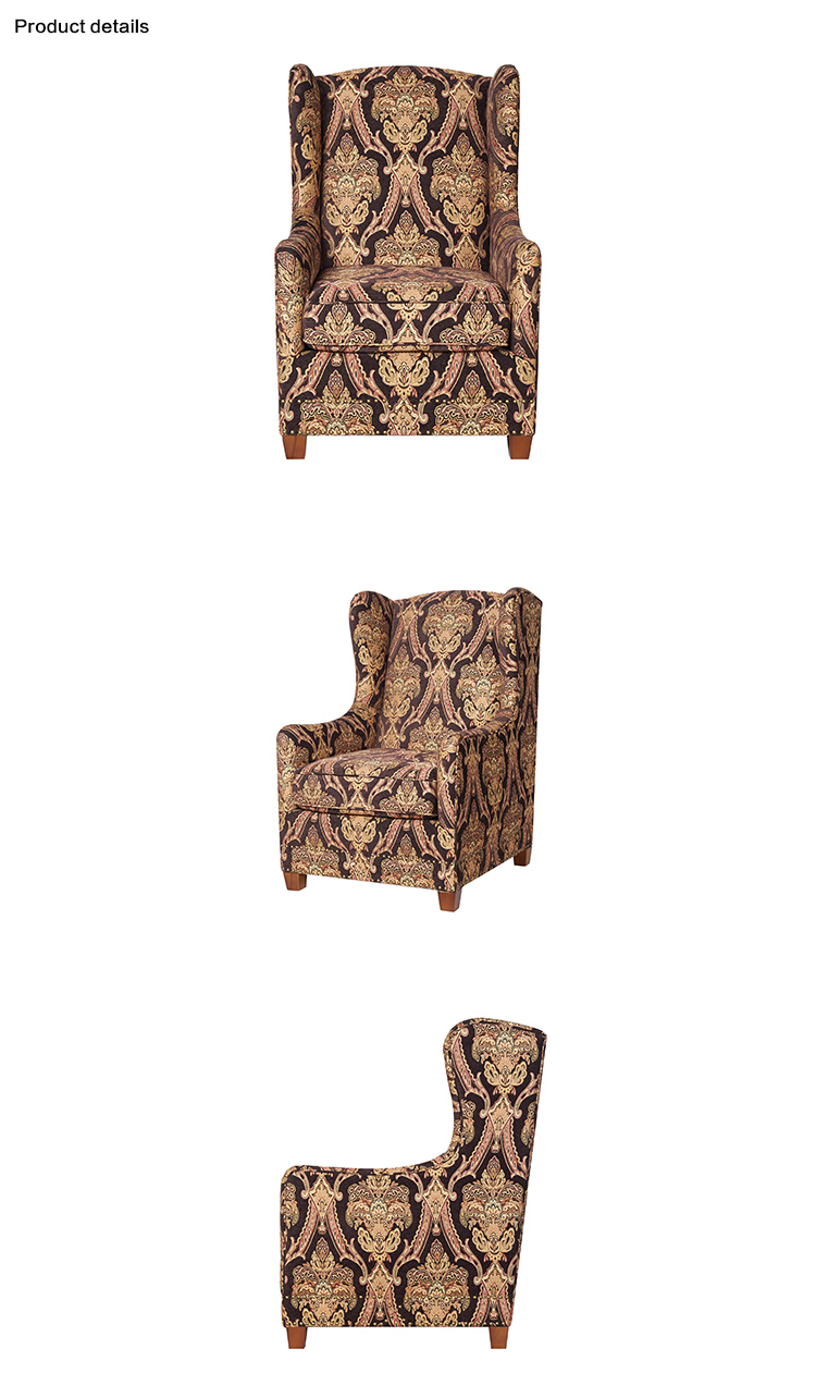 Antique fabric accent single seater sofa chairs upholstery throne arm chair with rivet living room furniture