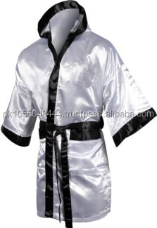 Black and silver ribs Boxing robes , for Martial arts best to wear