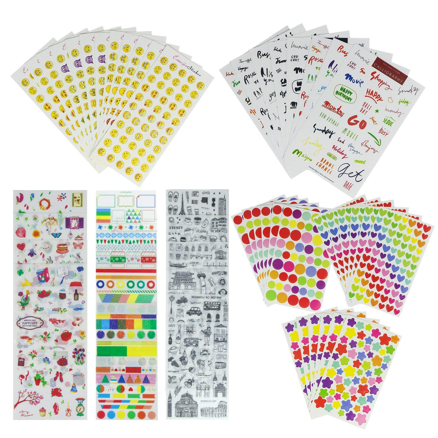 Bullet Journal & Planner Stickers Value Sheets (Assorted 2288 PCS, 56 Sheets) - Ideal Decorative Sticker Collection Sets for Scrapbooking, Cards, Calendars, Kids DIY Diary Arts Crafts, Album
