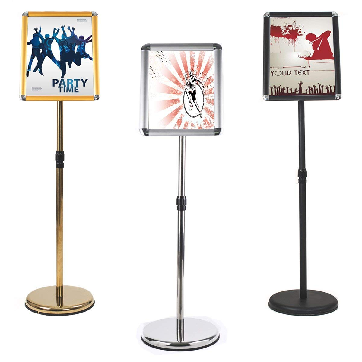 Adjustable Stainless Steel Pedestal Sign Holder Poster Stand Aluminum Easy Snap Open Frame for Graphics Both Vertical and Horizontal View Sign Displayed Menu Holder (Silver, 8.27 x 11.7 inches)
