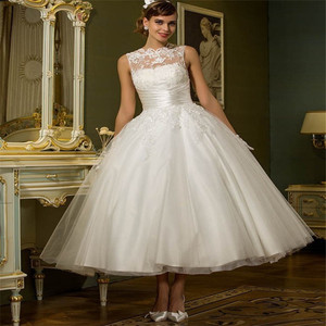Fashion vintage Vestido De Novia lace ankle length short bridal wedding dress