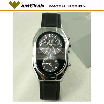 Leather Black Dress Watch With Great Dial Quamer Sport Watch Price