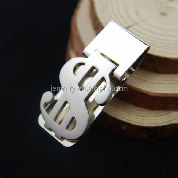 Fashion Jewelry Dollar Sign Attached for Men 316L Stainless Steel Money Clip
