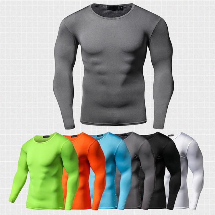 96e880c1 Slim Fit Gym T Shirt Men Long Sleeve Quick Dry Compression Shirt ...