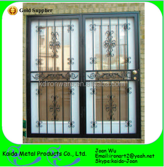 Ornamental Wrought Iron Double Grill Door Design For