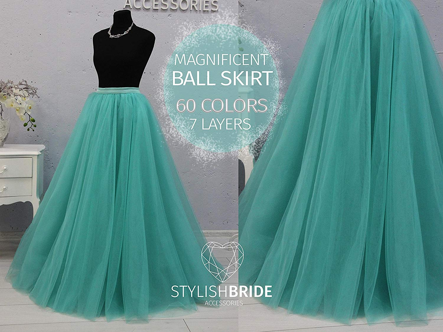 3526c20dc0 Get Quotations · Ball Wedding Tulle Wedding Floor Skirt, Ivory White Pink  Blush Mint Tulle Skirt Bridal,