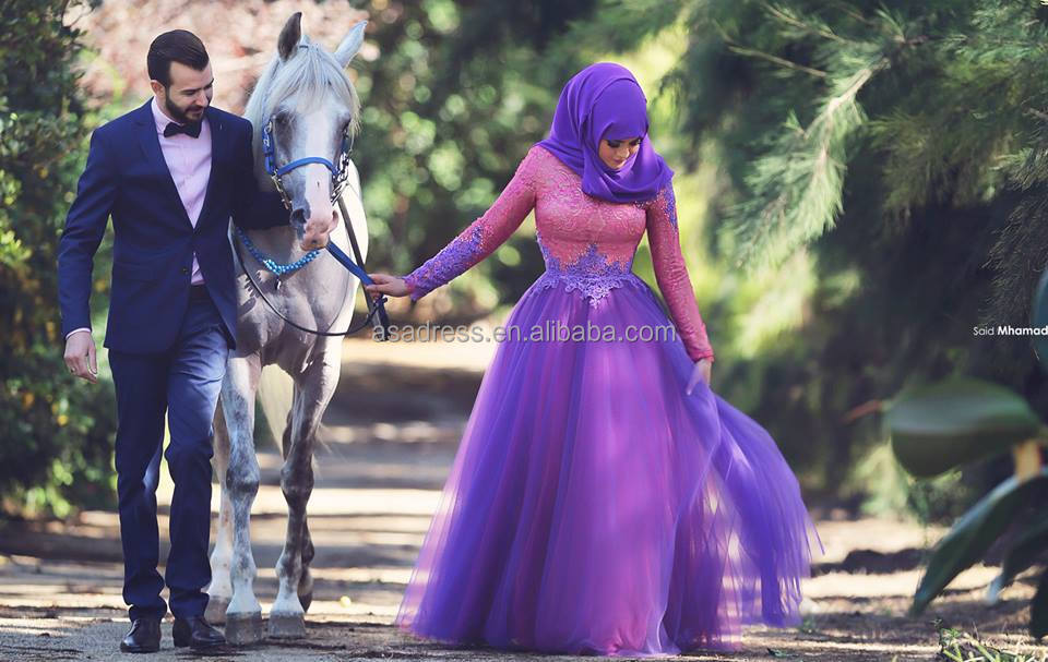 be249df133fe SMA23 Hot Design Purple Pink Ball Gown Abaya Colored Hijab Tulle and Lace  Muslim Evening Dresses