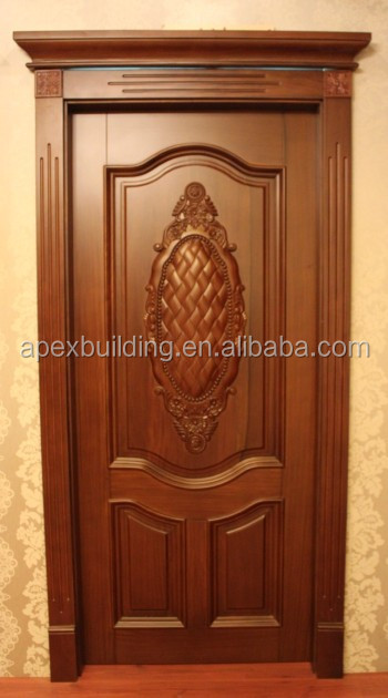 Solid Wood Main Entrance Door Design Oil Painted