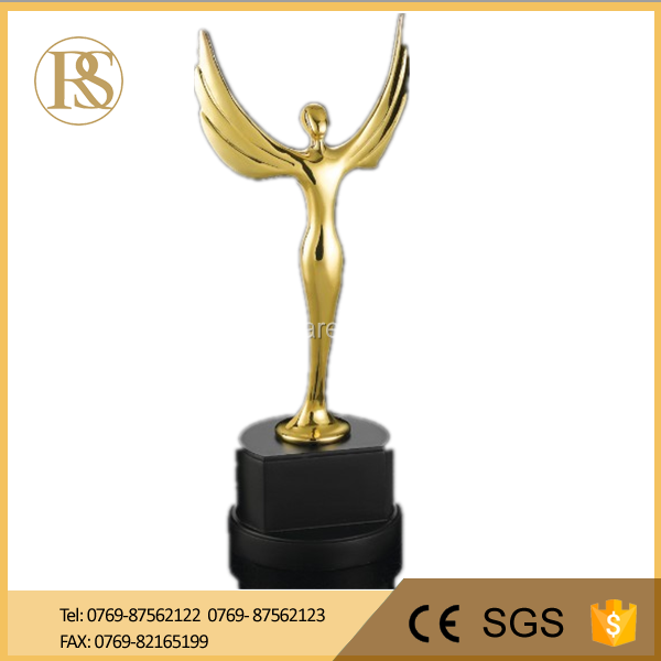 Flying Wing Metal Replica Oscar Trophy Awards on Crystal Base with Customized Logo