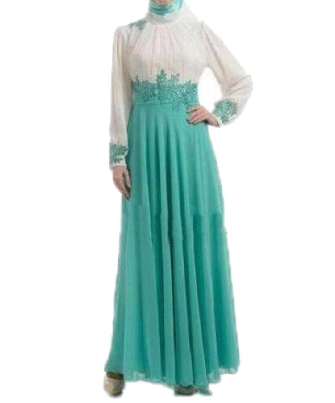 8d01117b6112d Get Quotations · AngelSpace Women's Muslim Evening Gown Premium Gown Lace  Simple Long Dress
