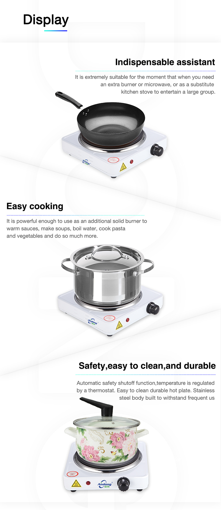 Home kitchen appliance 1000W electric cooking single hot plate with Soil heating tube for Family Cooking