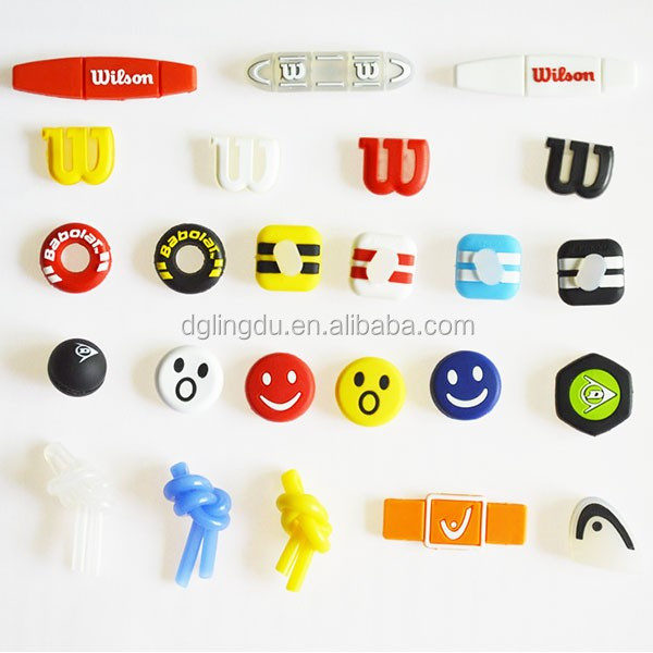 Best promotional sports gifts various design embossed logo silicone PVC tennis racket absorber/custom tennis racket dampener