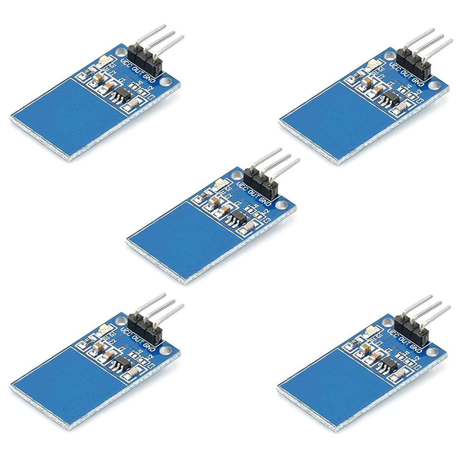 5pcs TTP223 Touch Sensor Module Capacitive Digital Touchpad Detector with LED Status Indicator and Bent Pins Alternative for Keypads and Push Button Keys from Optimus Electric