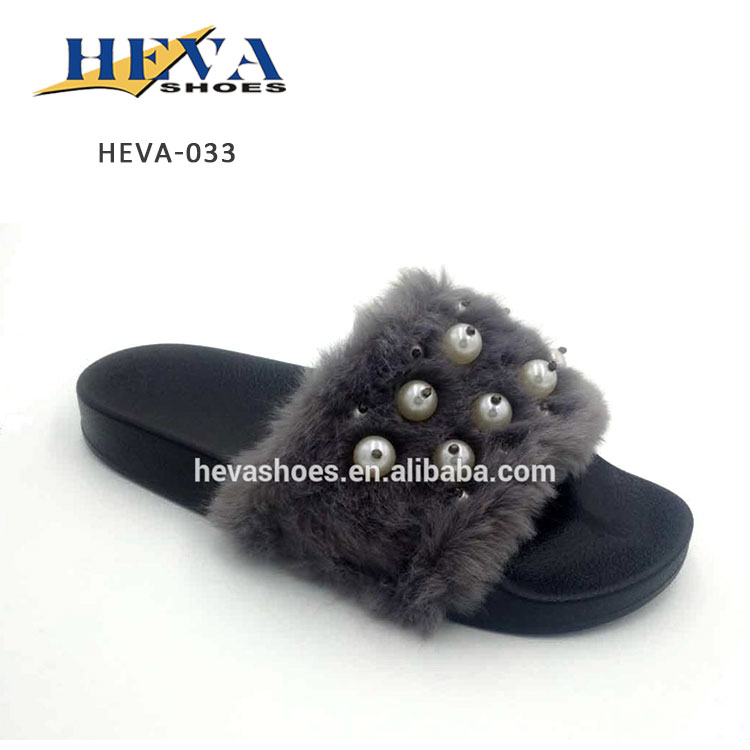 Women's Embellished Pearl Faux Fur Platform Wedge Slide Sandal Open Toe Slippers Soft Flat Slider