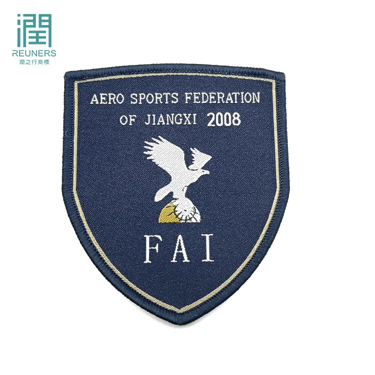 Kunden Eisen Auf Gewebte Stoff Stickerei Logo Patch Für Uniform Kleidung