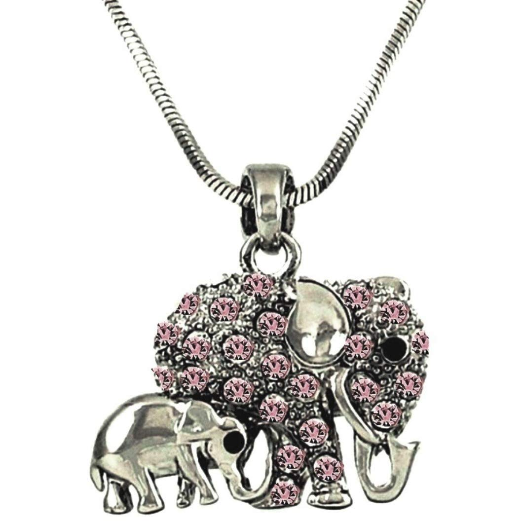 Get Quotations · DianaL Boutique Pink Crystal Elephant Mom Baby Necklace  18