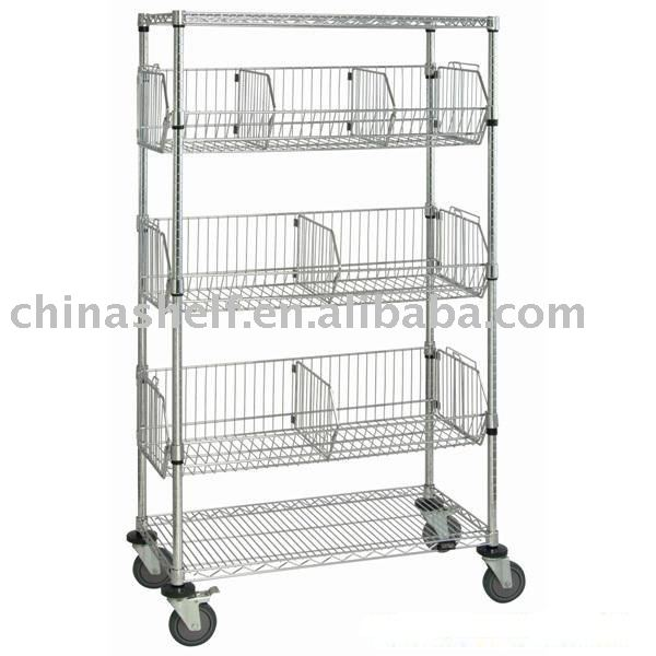 Chrome Wire Shelving Cart With Wire Bins - Buy Wire Shelving Cart ...