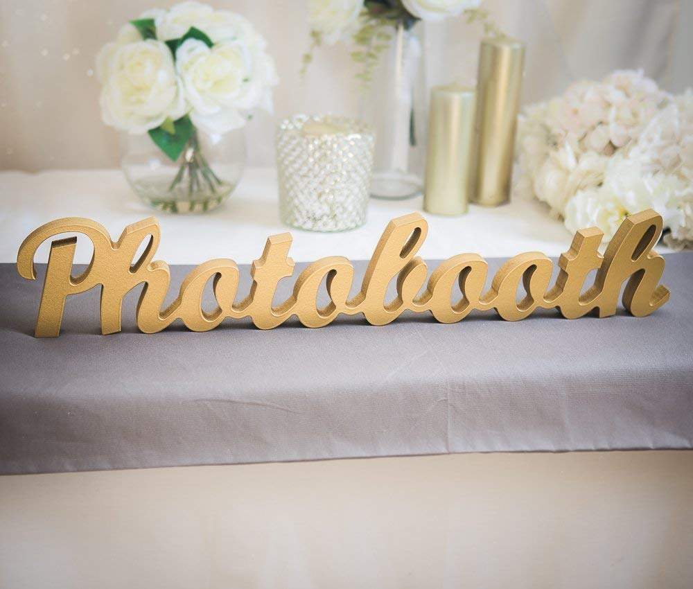 "Wedding Photo Booth Sign - Freestanding ""Photobooth"" - Wooden Wedding Sign for Reception Decor"