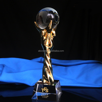 Pujiang factory wholesale gold resin sport ball globe trophy award from China trophy factory