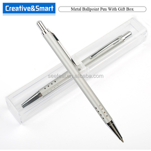 Wholesale Pen Manufacturer 2017 One-Dollar Promotional Branded Ballpoint Set With Blue Ink/ Silver Aluminum Pen/ Pen Custom Logo