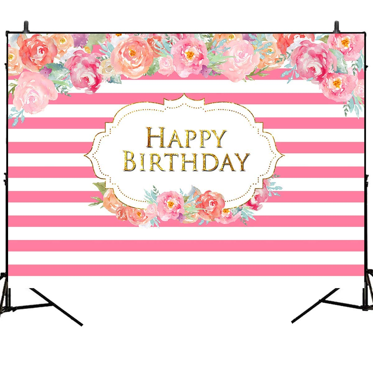 Mehofoto Pink White Stripes Backdrop Flower Happy Birthday Background 7x5ft Birthday Party Photography Background for Children Kid Adult Birthday Party