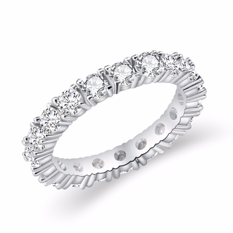 Wholesale Round Cut White Gold Cubic Zirconia Eternity Diamond Ring
