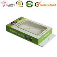 Logo Printing Mobile Phone Charger Power Bank Paper Packaging Box With Handle