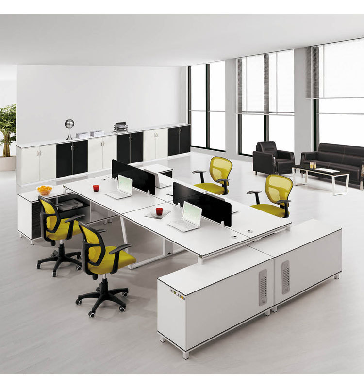 White Melamine Office Desk Workstation With Long Side Cabinet