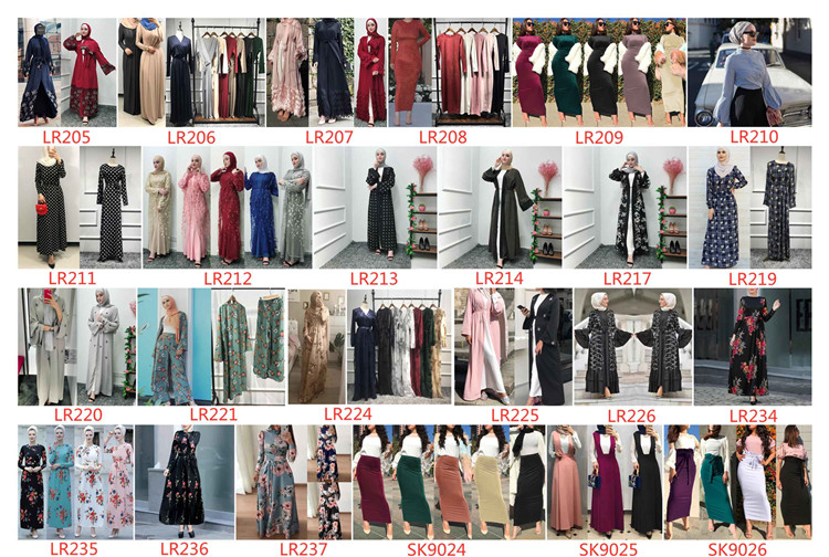 2019 Hot Sale Pleated chiffon 6 Colors Muslim  Skirts  Long Skirts for Young Women