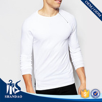 Autumn Men Long Sleeve 95% Cotton 5% Spandex 200g O-Neck OEM Custom Casual Zipper Plain Blank T Shirt Manufacturer Bangladesh